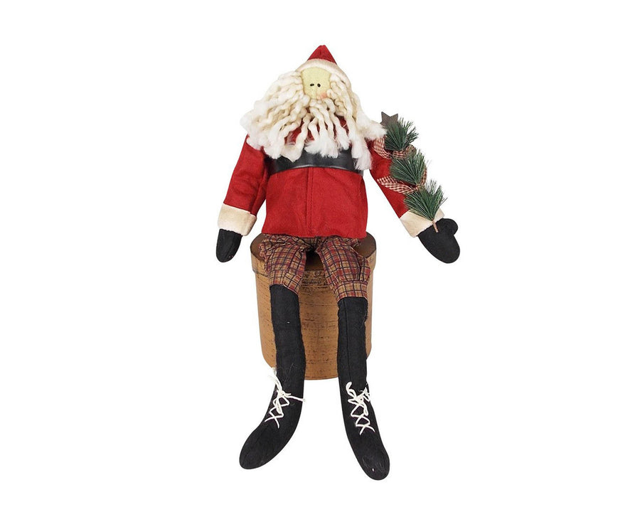 "Birch Maison Decorative Primitive / Farmhouse Sitting Fabric ""Olde World"" Santa with Tea-dyed Wiry Beard, Red Coat with a Black Belt, Pointed Hat, Checkered Pants with Long Black Boots, holding a Christmas Tree in his Hand - 20"" Tall (Standing)"