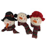 "Birch Maison Decorative Primitive / Farmhouse Snowmen Head with Plaid Fabric Scarfs, Ear Muffs, Hat and Bonnet, Christmas Ornaments, Set of 3, Assorted - 3"" Tall"