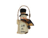 "Birch Maison Decorative Primitive / Farmhouse Fabric Snowman Head with Wicker Hanger and ""Let it Snow"" Embroidery in Front of his Body, Christmas Ornament - 8"" Tall"