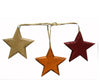 Birch Maison Decorative Primitive / Farmhouse Wooden Stars on String, Yellow / Orange / Red, Ornaments, Assorted, Set of 3 -