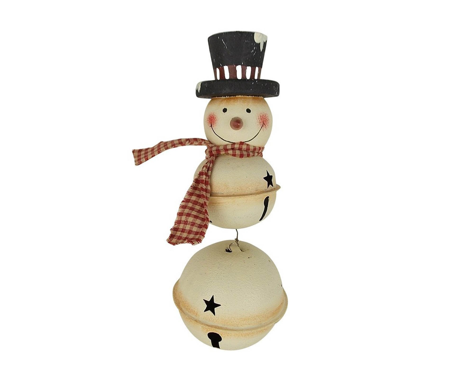 Christmas Top Hat Ornaments.3 Tin Bells Snowman With Fabric Scarf And Black Top Hat Christmas Ornament 10 Tall