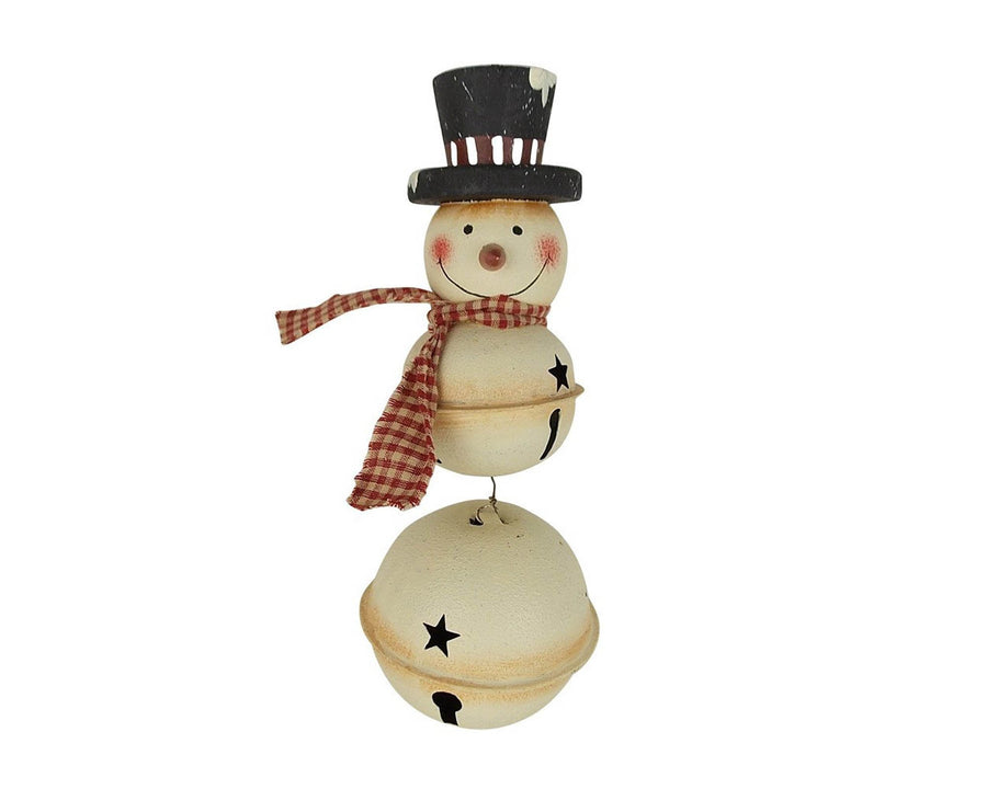 "Birch Maison Decorative Primitive / Farmhouse 3 Tin Bells Snowman with Fabric Scarf and Black Top Hat, Christmas Ornament - 10"" Tall"
