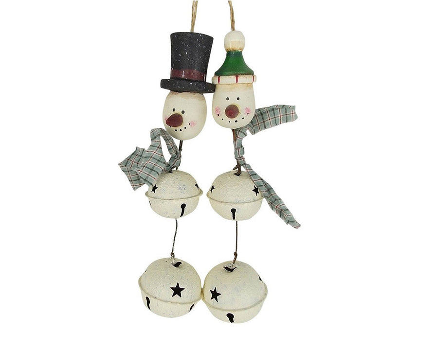 "Birch Maison Decorative Primitive / Farmhouse 3 Tin Bells Snowman with Fabric Scarf and Black Top Hat, Christmas Ornament, Set of 2 - 5.5"" Tall"