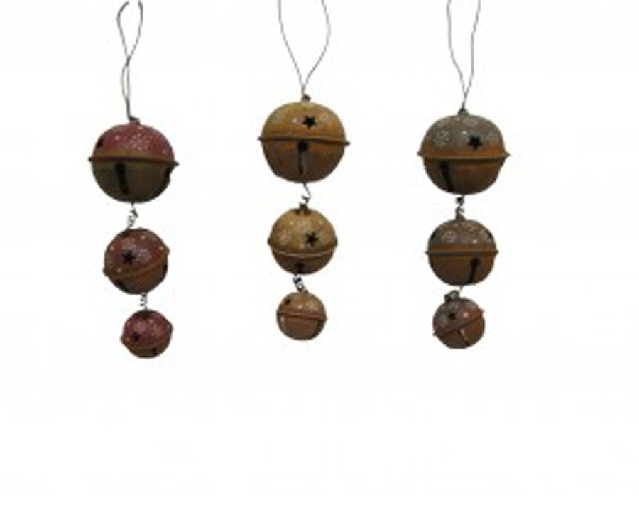 Birch Maison Decorative Primitive / Farmhouse 3 Rusty Tin Bells in different Sizes with Star Cut Outs, Ornaments, Assorted, Set of 3