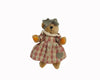 "Birch Maison Decorative Primitive / Farmhouse Fabric Teddy Bear Girl ""Teresa"" with Fabric Dress and Checkered Bow Headband, Standing - 10"" Tall"