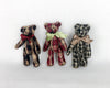 "Birch Maison Decorative Primitive / Farmhouse Checkered Fabric Bears, Assorted, Set of 3 - 4.5"" Tall"