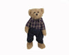 "Birch Maison Decorative Farmhouse / Primitive Standing Fabric Bear ""Jonathan"" with Checkered Shirt and Blue Pants - 13"" Tall"