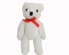 "Birch Maison Decorative Primitive / Farmhouse Plushy Fabric Bear with Red Bow, Jointed, White - 12"" Tall"