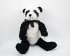 "Birch Maison Decorative Primitive / Farmhouse Plushy Fabric Panda-Bear with Black Bow, Jointed, White - Black - 12"" Tall"