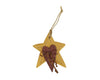 "Birch Maison Decorative Primitive / Farmhouse Wooden Star / Heart Ornament with Wired Ribbon - 3.5"" Tall"