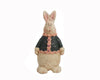 "Birch Maison Decorative Primitive / Farmhouse Standing Paper Mache Rabbit with Cardigan - 7.5"" Tall"