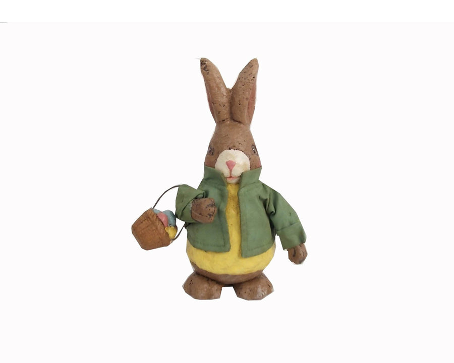 "Birch Maison Decorative Primitive / Farmhouse Standing Paper Mache Rabbit with Green Fabric Coat and Egg Basket in his Arm - 8"" Tall"