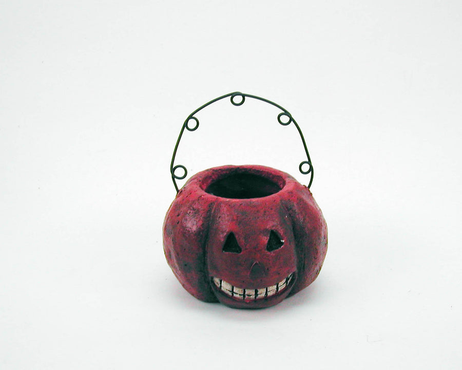 "Birch Maison Decorative Primitive / Farmhouse Paper Mache Jack-O-Lantern Basket Ornament with Wired Hanger - 3"" Dia"