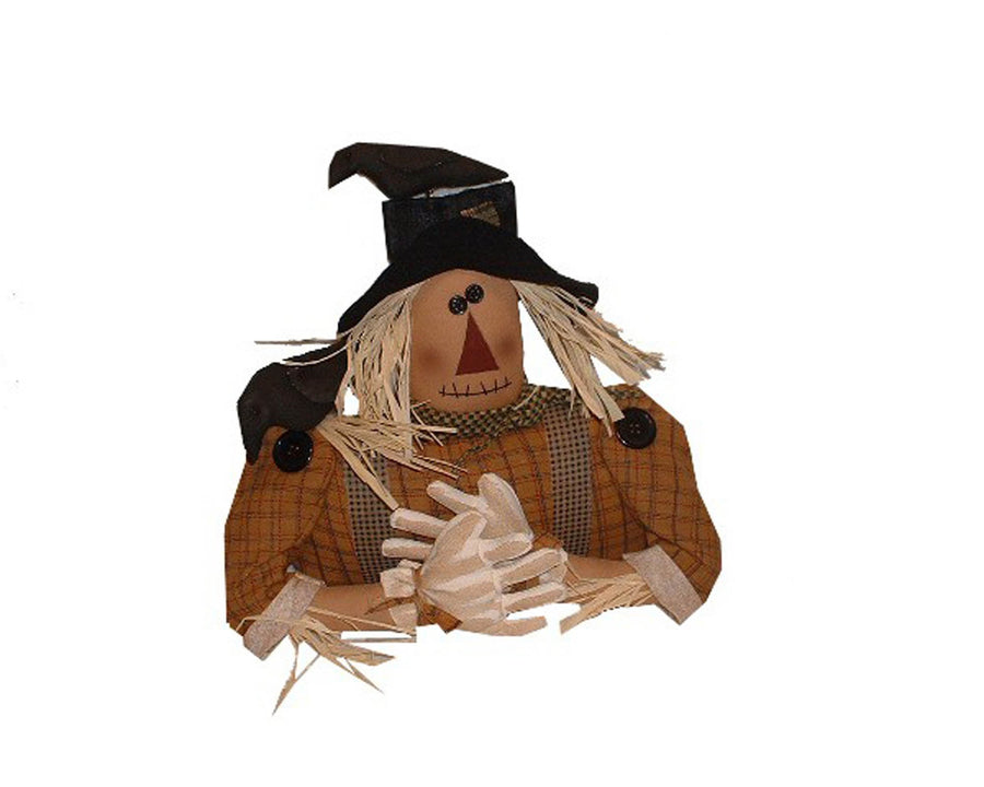 "Birch Maison Decorative Primitive / Farmhouse Half-Body Paper Mache Scarecrow ""Felix"" with Crows Sitting on his Shoulder and Hat - 10"" Tall"