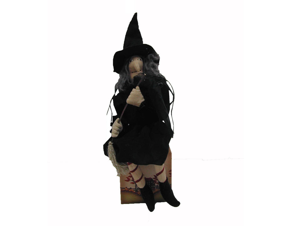 "Birch Maison Decorative Primitive / Farmhouse Standing Fabric Halloween ""Warty Witch"" with Long Grey Hair, a Pointed Black Hat and Bulky Clothes - 12"" Tall"