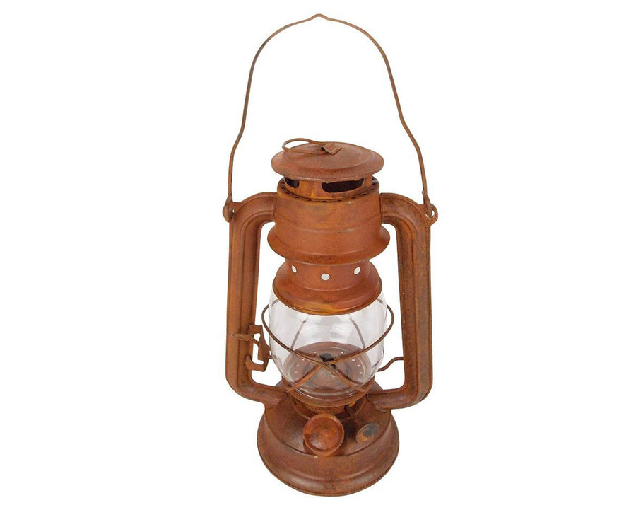 "Birch Maison Decorative Primitive / Farmhouse Tin Oil Lantern with Wired Glass, Wick and Fluid Basin, Rustic- 10"" Tall"