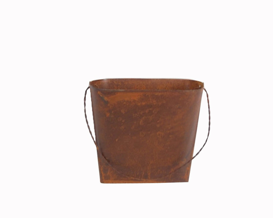 "Birch Maison Decorative Primitive / Farmhouse Tin Wall Bucket, Rustic - 5"" Tall"