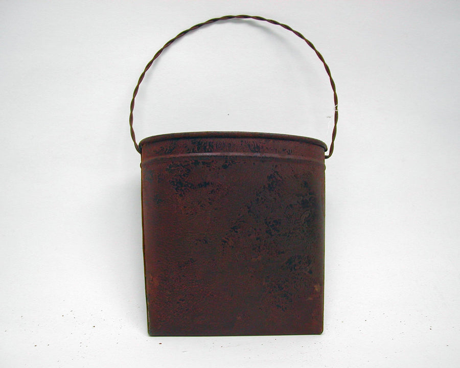 "Birch Maison Decorative Primitive / Farmhouse Tin Bag with Hanger, Rustic - 6"" Tall"