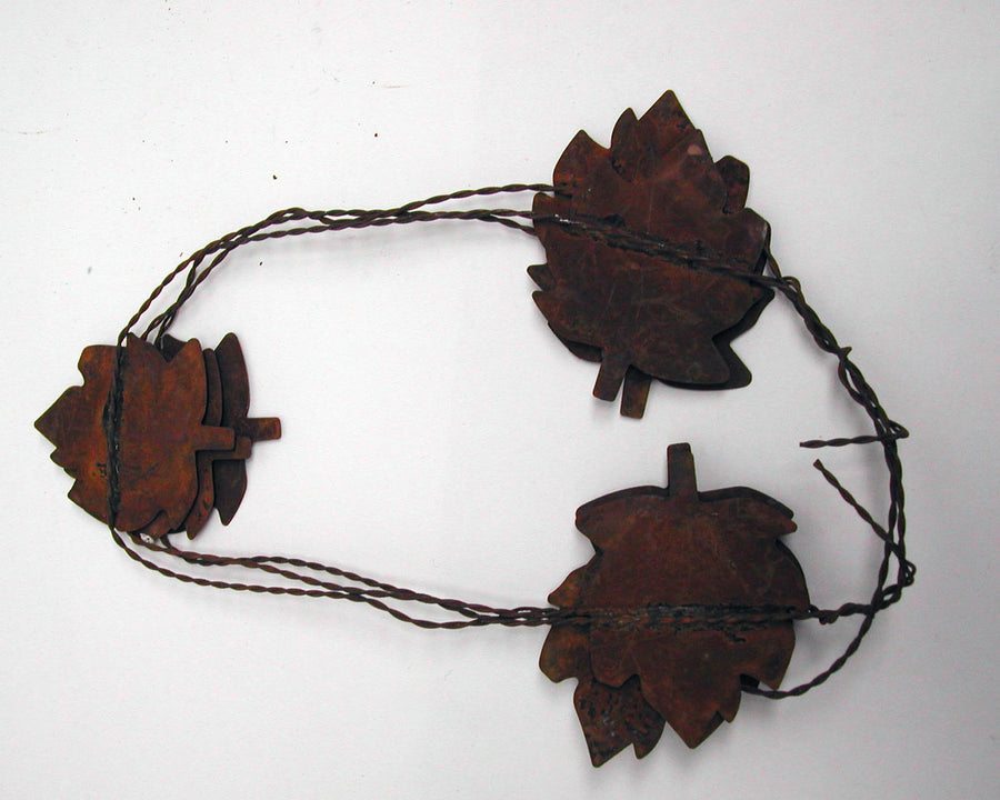 Birch Maison Decorative Primitive / Farmhouse Tin Fall Leave Garland, Rustic - 6 FT
