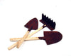 "Tin Garden Tools with Wooden Sticks,  Set of 3 - 5"" Long"