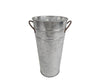 Shiny Tin Flower Bucket with Handle, Galvanized