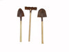 "Birch Maison Decorative Primitive / Farmhouse Mini Tool Set with Wooden Sticks, Set of 3 - 4"" Tall"