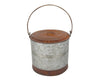 "Birch Maison Decorative Primitive / Farmhouse Two Tone Tin Container with Lid, Natural / Rustic - 4.5"" Tall"