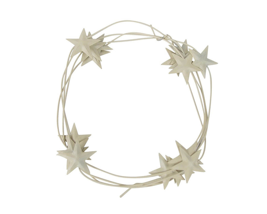 "Birch Maison Decorative Primitive / Farmhouse Tin Star Garland with 1"" Stars, Off White - 6 FT"