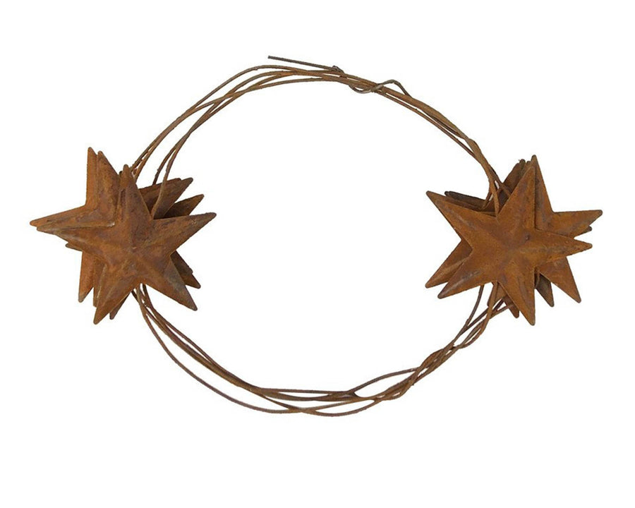 "Birch Maison Decorative Primitive / Farmhouse Tin Star Garland with 2"" Stars, Rustic - 6 FT"