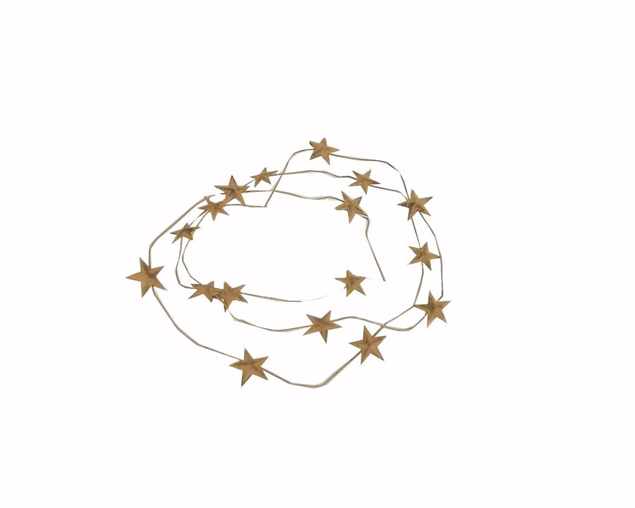 "Birch Maison Decorative Primitive / Farmhouse Tin Star Garland with 1"" Stars, Mustard-Yellow - 6 FT"