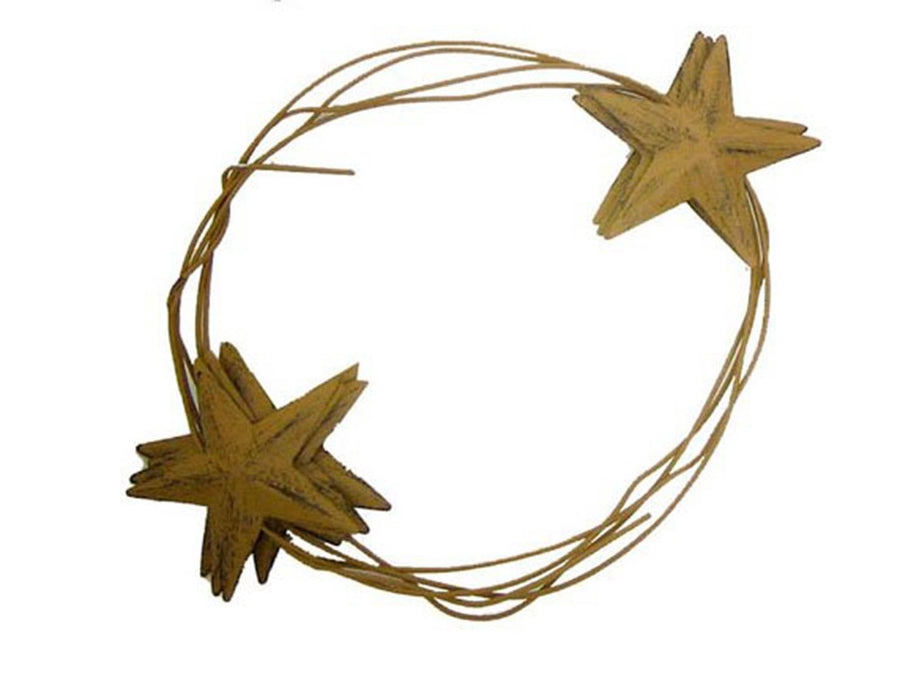 Birch Maison Decorative Primitive / Farmhouse Tin Wire Garland with Stars, Mustard-Yellow - 6 FT