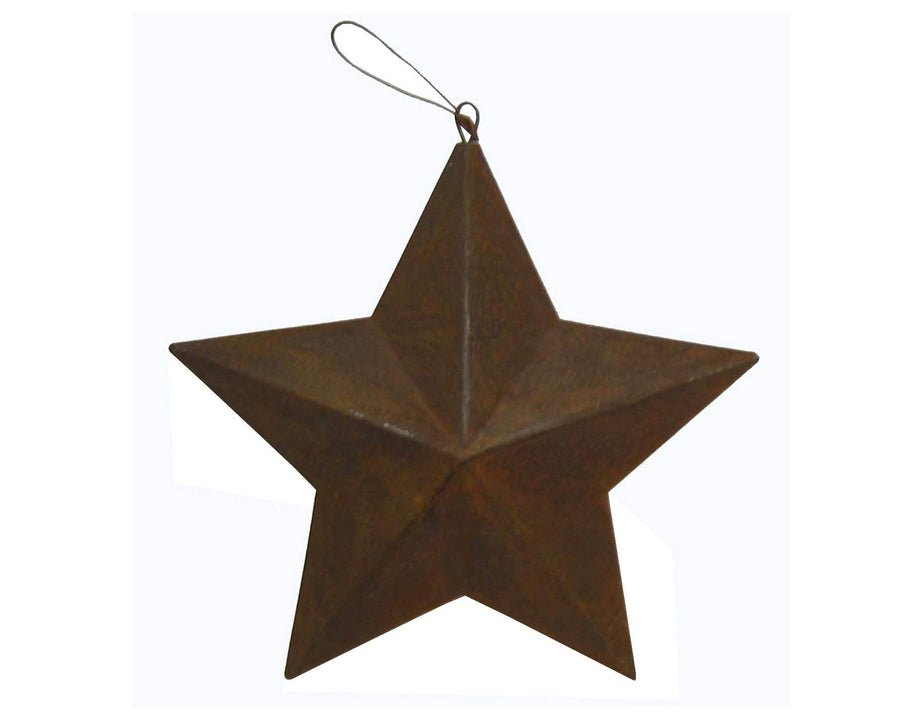 "Tin Star Ornament, Rustic - 7"" Tall"