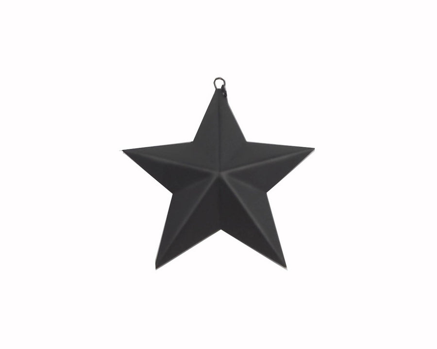 Primitive Tin Star Ornament, Black