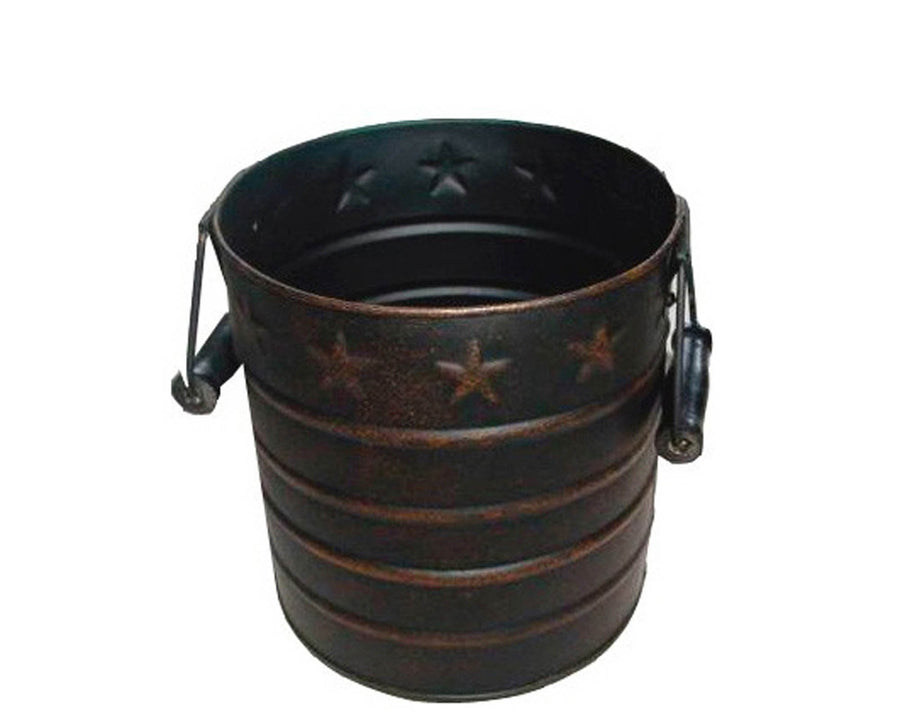 "=T0889 6"" X7""H RUSTIC TIN PAIL  Craft Outlet"