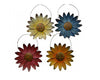 Tin Daisy Flower Ornament, Set of 4, Assorted