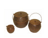 "Birch Maison Decorative Primitive / Farmhouse Tin Pots with Lid and Handle, Rustic, Set of 3 -  8"" H, 6"" H, 3.5"" H"
