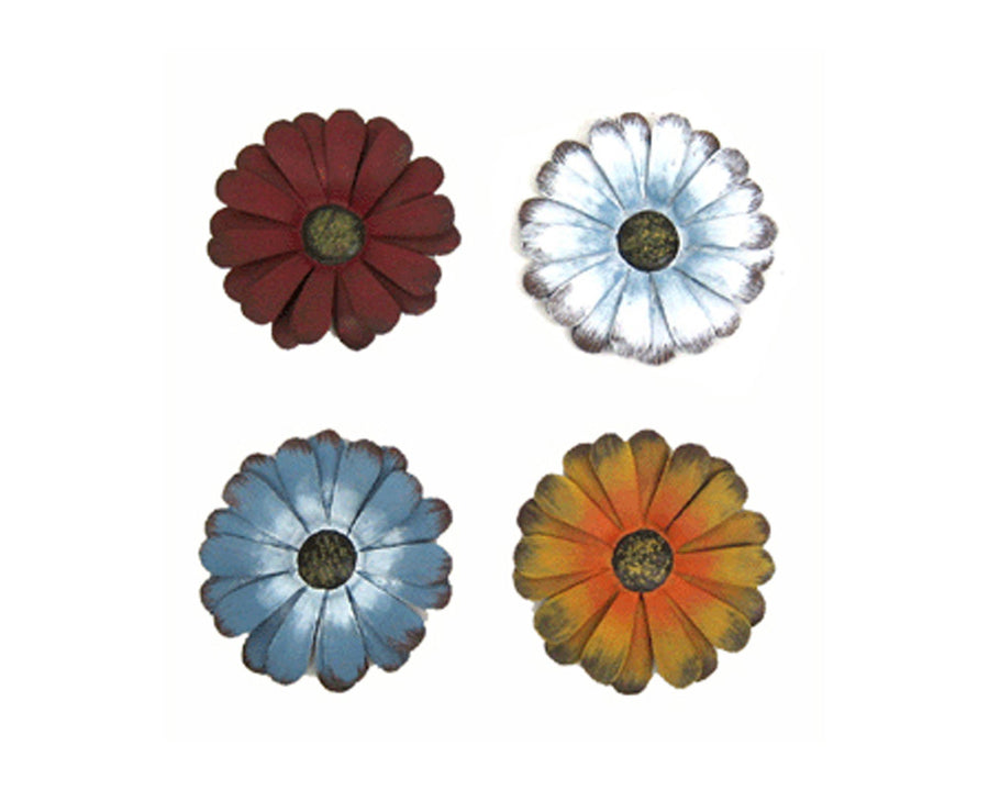 "Birch Maison Decorative Primitive / Farmhouse Tin Daisy Flower Magnets, Blue / Yellow / Red / Off-White, Assorted, Set of 4 - 4"" Tall"