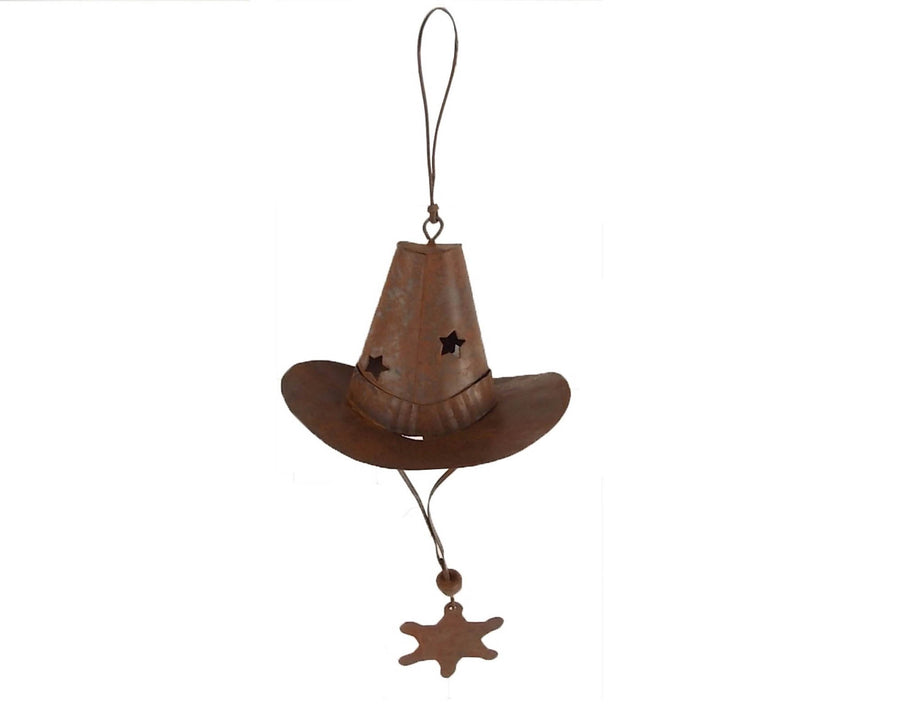 "Tin Cowboy Hat Ornamnet with Tin Star, 3.5""W"
