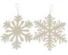 Tin Snowflake Ornaments with Hanger, Off White, Assorted, Set of 2 -