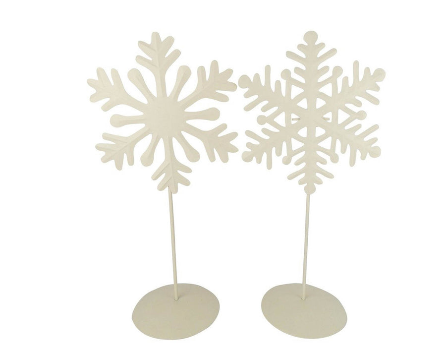 WHITE TIN SNOWFLAKE ON STAND (SM) 2 ASSRT  Craft Outlet