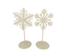 Snowflake On Stick with Stand, Off-White, Assorted, Set of 2 -
