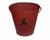 "Birch Maison Decorative Primitive / Farmhouse Tin Bucket with Black Star Attached and Handle, Red - 12"" Tall"