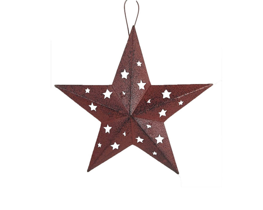"RUSTIC TIN STAR W/CUT OUTS (LG) 6""  Craft Outlet"
