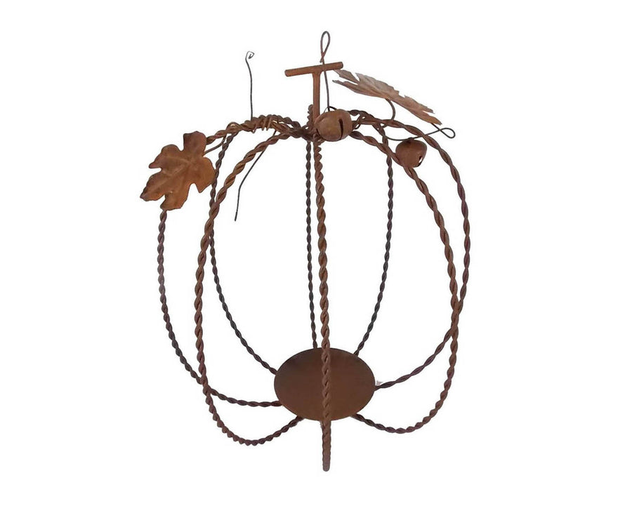 "Birch Maison Decorative Primitive / Farmhouse  Tin Pumpkin Tea Light / Candle Holder, Made of Wire with Leaves and Bells, Rustic - 10"" Tall"