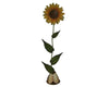 "Birch Maison Decorative Primitive / Farmhouse Tin Sun Flower on a Stick with Base, Yellow - 20"" Tall"