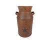 "RUST MILK CAN W/STAR ATTACHED 11.5""  Craft Outlet"