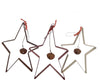 Birch Maison Decorative Primitive / Farmhouse Hanging Tin Star Ornaments, Rustic / Off-White / Red, Assorted, Set of 3
