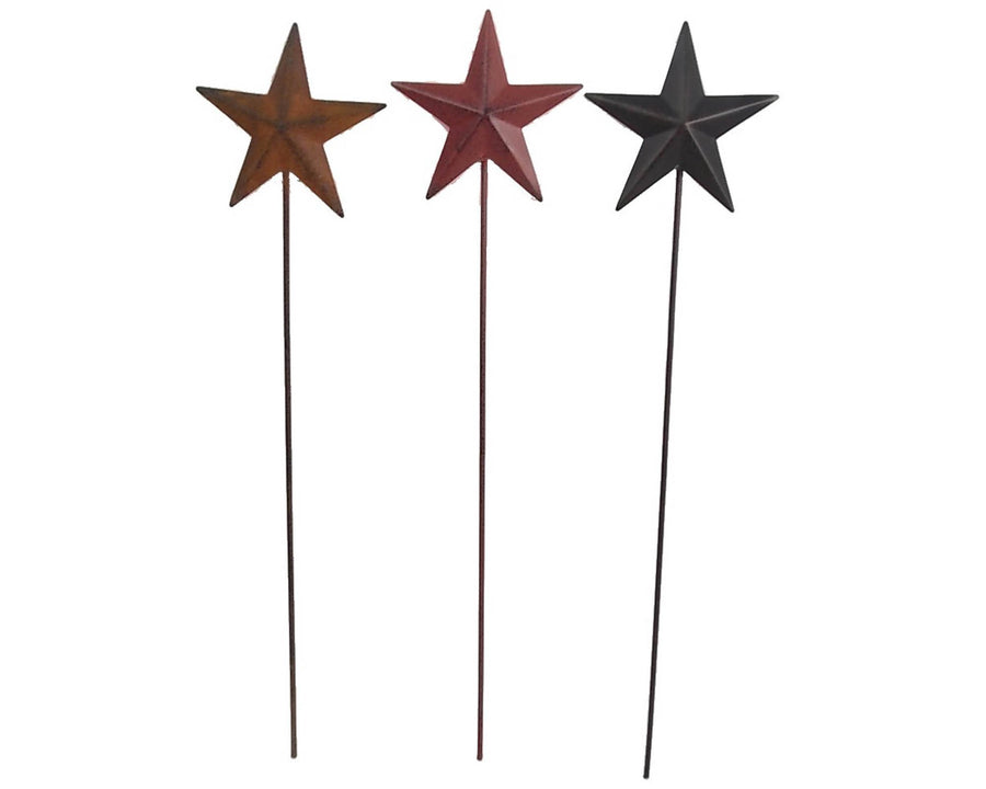 Birch Maison Decorative Primitive / Farmhouse Tin Stars on Sticks, Assorted, Set of 6
