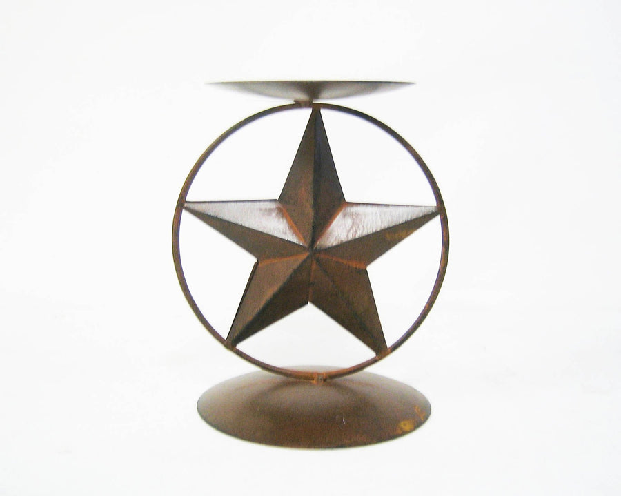 "BLACK STAR PILLER CANDLE STAND 5.5""x5""x6.75""  Craft Outlet"