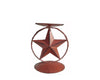 "Birch Maison Decorative Primitive / Farmhouse Star Pillar Candle Stand with Ring, Red - 6.75"" Tall"